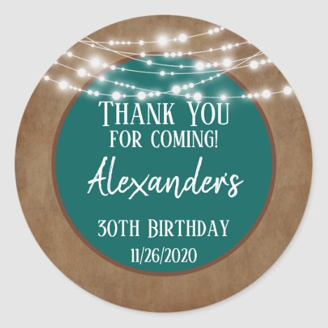 Teal Brown Lights Thank You Birthday Favor Tags