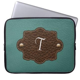 Teal & Brown Monogram Leather Look Laptop Sleeve