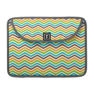 Teal, Brown, Orange, and Green Chevron Stripes Sleeve For MacBooks
