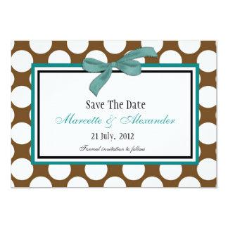 TEal Brown Polka Dot Save The Date Card