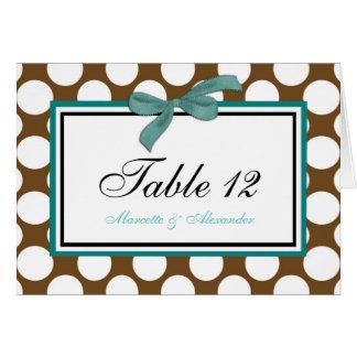 Teal Brown Polka Dot Table Cards