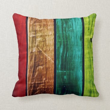 Teal Brown Red & Green Striped Accent Pillow