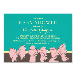 Teal Brown Ribbons and Bows Baby Shower Invitation