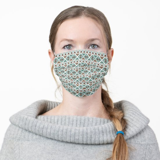 Teal Brown Southwestern Tribal Pattern Adult Cloth Face Mask