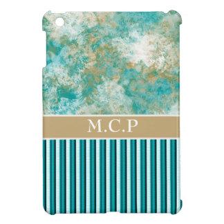 Teal brown stripe pattern modern iPad mini cover