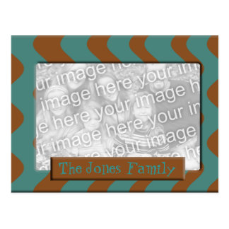 teal brown stripes photo frame postcard