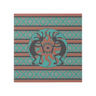 Teal Brown Tribal Sun Kokopelli Southwest Design Gallery Wrap