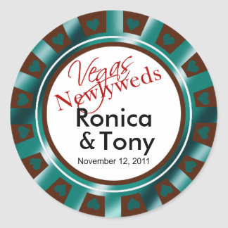 Teal & Brown Vegas Newlyweds Casino Chip Round Stickers