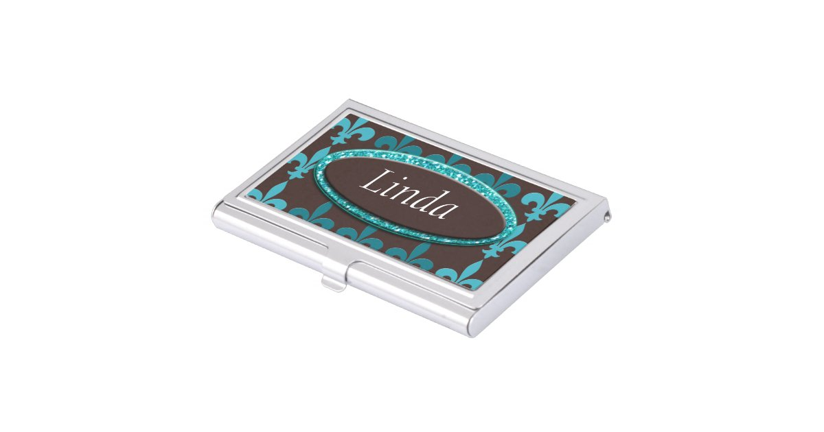 Teal & Brown Winter Fleur De Lis Monogram Business Card Holder ...