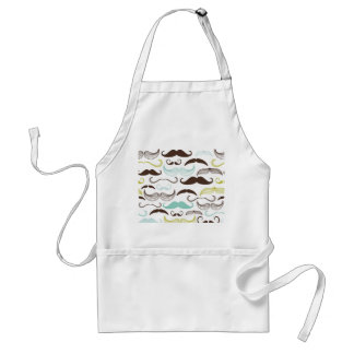 Teal, Brown & Yellow Mustaches Adult Apron