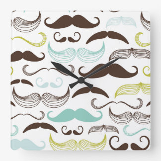 Teal Brown Yellow Mustaches Square Wall Clocks