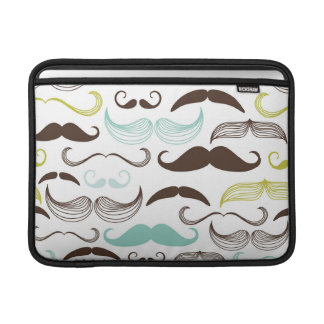 Teal, Brown & Yellow Mustaches MacBook Sleeve