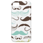 Teal, Brown & Yellow Mustaches iPhone 5 Case