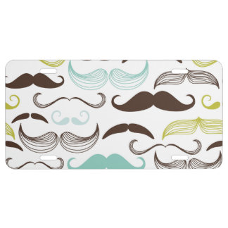 Teal, Brown & Yellow Mustaches License Plate