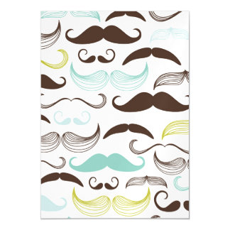 Teal, Brown & Yellow Mustaches Magnetic Card
