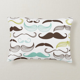 Teal, Brown & Yellow Mustaches Accent Pillow