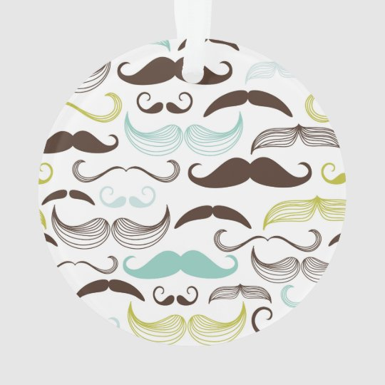 Teal, Brown & Yellow Mustaches Ornament