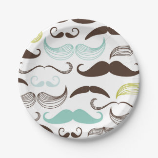Teal, Brown & Yellow Mustaches Paper Plate
