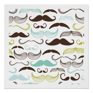 Teal, Brown & Yellow Mustaches Perfect Poster