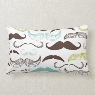 Teal, Brown & Yellow Mustaches Pillows