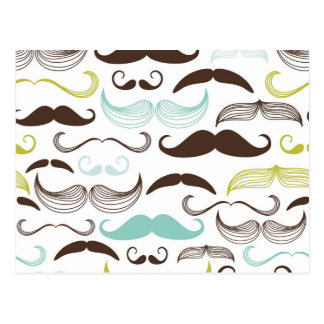 Teal, Brown & Yellow Mustaches Postcard