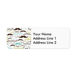 Teal, Brown & Yellow Mustaches Return Address Label