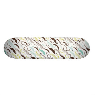 Teal, Brown & Yellow Mustaches Custom Skateboard