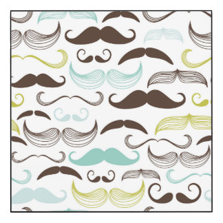 Teal, Brown & Yellow Mustaches Wood Wall Art