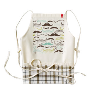 Teal, Brown & Yellow Mustaches Zazzle HEART Apron
