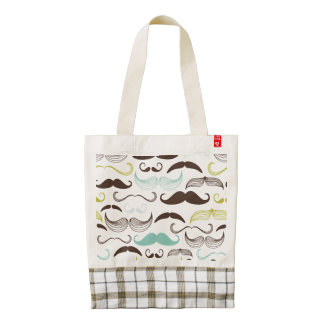 Teal, Brown & Yellow Mustaches Zazzle HEART Tote Bag
