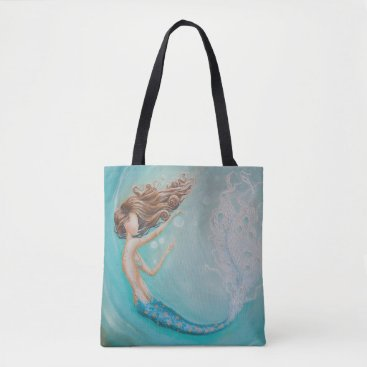 Beach Themed Teal bubble mermaid tote beach bag