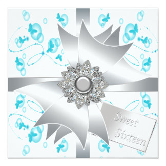 Teal Bubbles Butterflies Sweet 16 Party Card