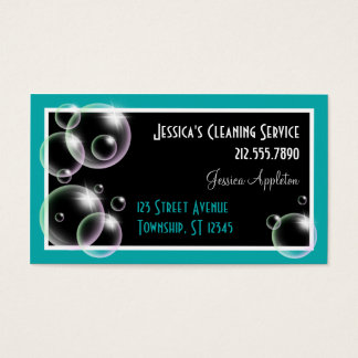 Teal Bubbles Cleaning Service Business Cards