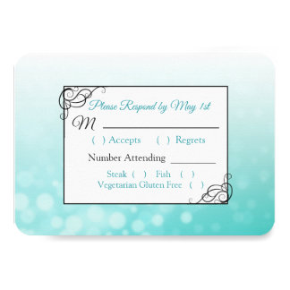 Teal Bubbles Wedding RSVP card