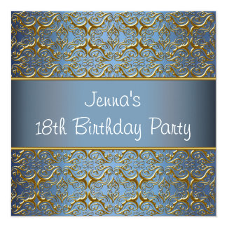Teal Bue 18th Birthday Party Invitation Teal 18th