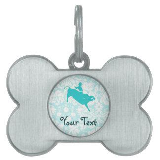 Teal Bull Riding Pet ID Tag