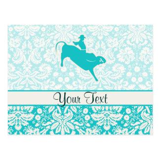Teal Bull Riding Postcard