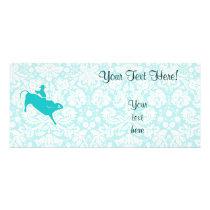Teal Bull Riding Rack Card