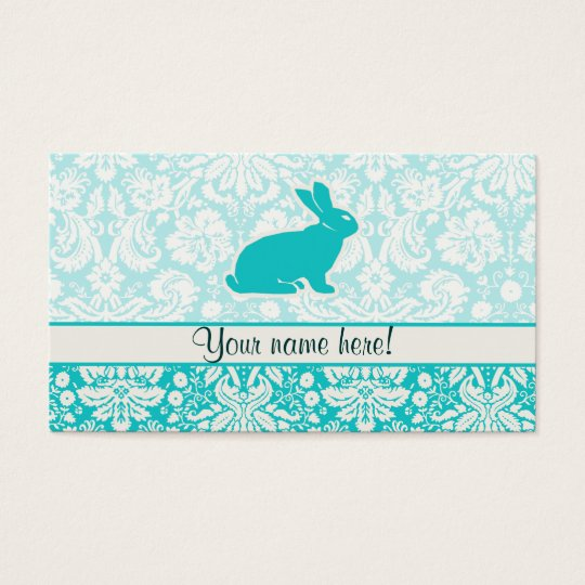 Teal Bunny Business Card