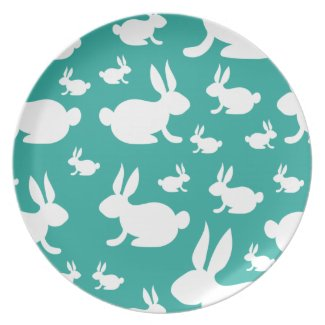 Teal Bunny Pattern Plate