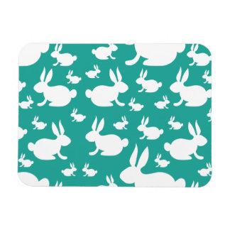 Teal Bunny Pattern Rectangular Magnets