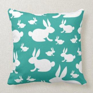 Teal Bunny Pattern Throw Pillow