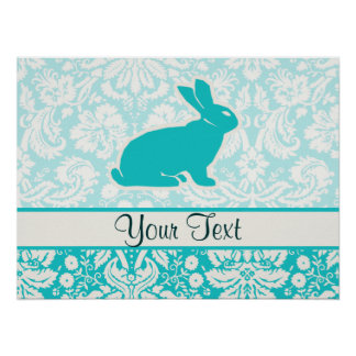 Teal Bunny Poster