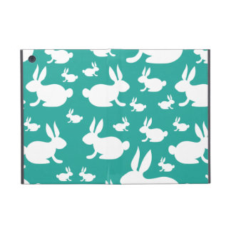 Teal Bunny Rabbit Pattern Cover For iPad Mini