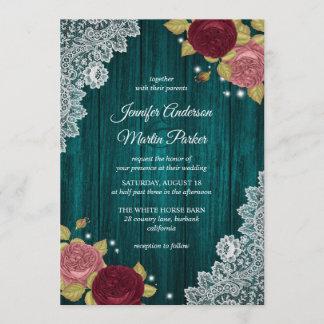 Teal Burgundy and Blush Floral Wedding Invitations
