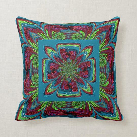 Teal Burgundy Green Flower Throw Pillow Zazzle Com