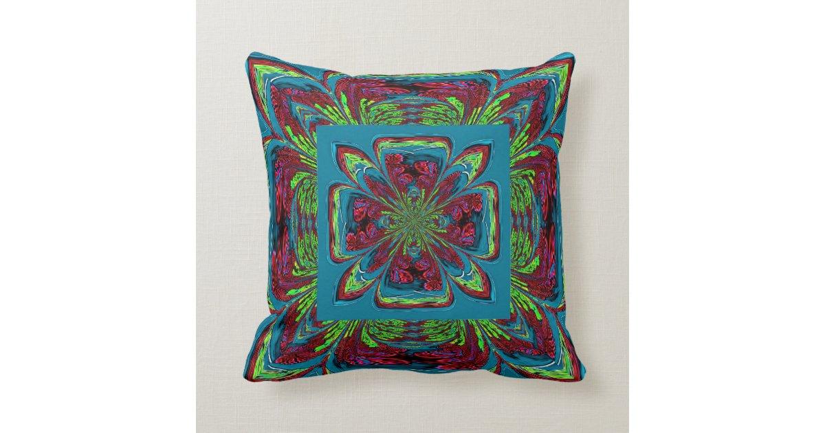 Burgundy Floral Throw Pillows : Teal Burgundy Green Flower Throw Pillow Zazzle