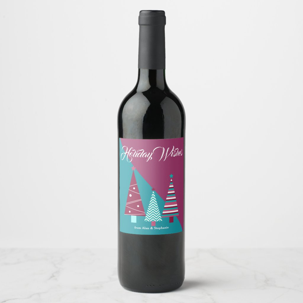 Teal Burgundy Holiday Wishes Christmas Trees Wine Label