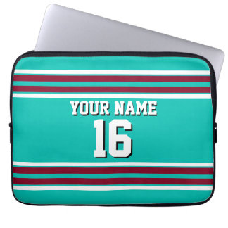 Teal Burgundy White Team Jersey Custom Number Name Computer Sleeve