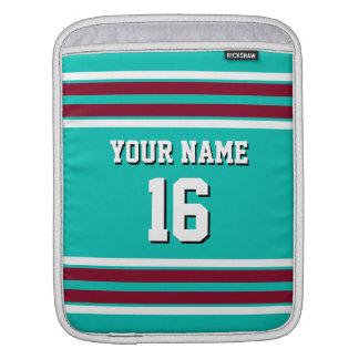 Teal Burgundy White Team Jersey Custom Number Name iPad Sleeve